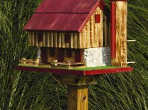 Amish Handcrafted Barn Bird Feeder w/ Silo