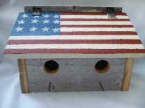 Amish made 2 Family Birdhouse w/American Flag Painted on Flip Top Roof
