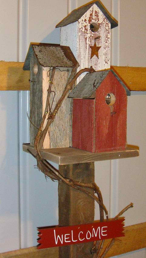 Amish Handcrafted Bird City on Post Birdhouse