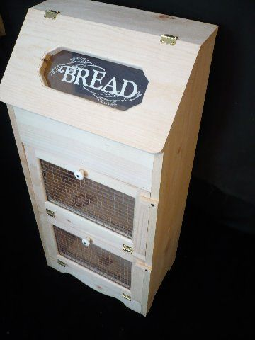 Home Decor – Unfinished Pine Bread Box and 2 Door Vegetable Bin