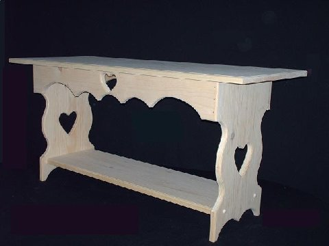 Home Decor – Unfinished Pine Coffee Table with Hearts