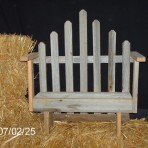 Doll Furniture – Barnwood Doll Park Bench with Picket Fence Back
